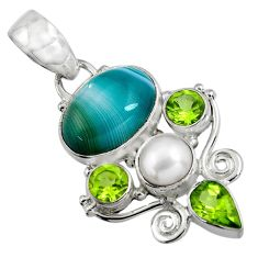 11.66cts natural green botswana agate peridot 925 sterling silver pendant d32527