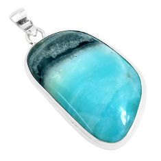 32.73cts natural green boulder amazonite 925 sterling silver pendant p47302