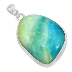 27.23cts natural green boulder amazonite 925 sterling silver pendant p59519