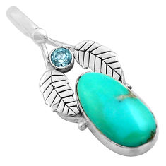 11.25cts natural green campitos turquoise 925 silver deltoid leaf pendant p84703