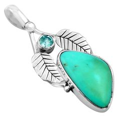 10.79cts natural green campitos turquoise 925 silver deltoid leaf pendant p84711