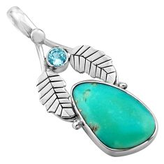 10.32cts natural green campitos turquoise 925 silver deltoid leaf pendant p84717