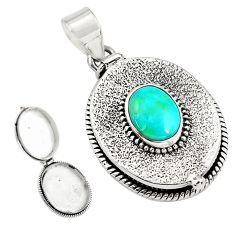 4.28cts natural green campitos turquoise 925 silver poison box pendant p79914