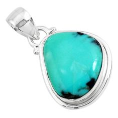 12.58cts natural green campitos turquoise 925 sterling silver pendant p46475