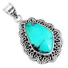 14.88cts natural green campitos turquoise 925 sterling silver pendant p46483