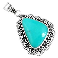 17.18cts natural green campitos turquoise 925 sterling silver pendant p46496
