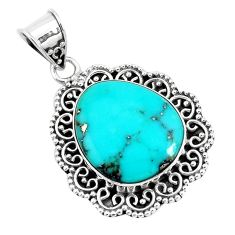16.70cts natural green campitos turquoise 925 sterling silver pendant p46497