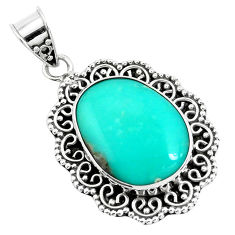 17.04cts natural green campitos turquoise 925 sterling silver pendant p46500