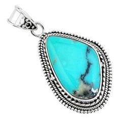 17.20cts natural green campitos turquoise 925 sterling silver pendant p59191