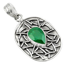 4.50cts natural green chalcedony 925 sterling silver pendant jewelry p78473