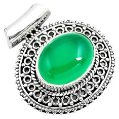 10.53cts natural green chalcedony 925 sterling silver pendant jewelry p86661