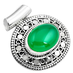 10.89cts natural green chalcedony 925 sterling silver pendant jewelry p86664