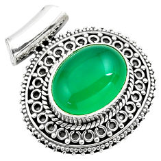 10.54cts natural green chalcedony 925 sterling silver pendant jewelry p86666