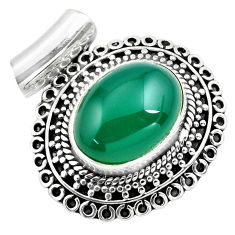 10.48cts natural green chalcedony 925 sterling silver pendant jewelry p86669