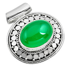 11.05cts natural green chalcedony 925 sterling silver pendant jewelry p86676
