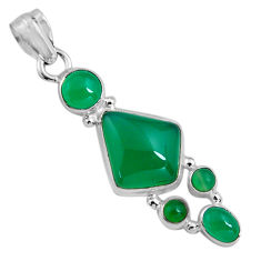 13.69cts natural green chalcedony 925 sterling silver pendant jewelry p89238