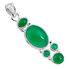 14.41cts natural green chalcedony 925 sterling silver pendant jewelry p89239