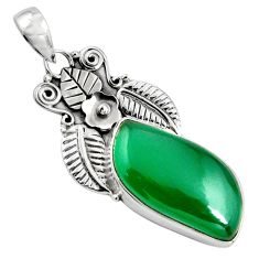15.55cts natural green chalcedony 925 sterling silver pendant jewelry p90266