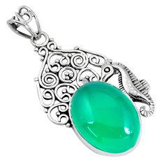 14.21cts natural green chalcedony 925 sterling silver seahorse pendant p59789