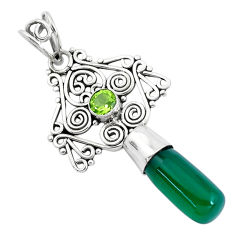 8.94cts natural green chalcedony peridot 925 sterling silver pendant p40390