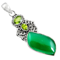 16.06cts natural green chalcedony peridot 925 sterling silver pendant p90265