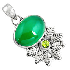 13.77cts natural green chalcedony peridot 925 sterling silver pendant p90267