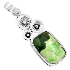 14.72cts natural green chrome chalcedony 925 silver flower pendant p55283
