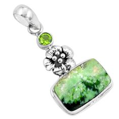 13.77cts natural green chrome chalcedony 925 silver flower pendant p55287