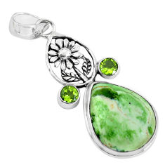 16.92cts natural green chrome chalcedony 925 silver flower pendant p55300