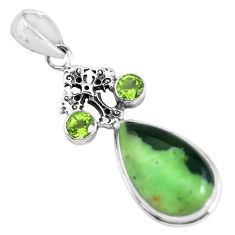 15.47cts natural green chrome chalcedony 925 silver holy cross pendant p55302