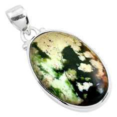 13.70cts natural green chrome chalcedony 925 sterling silver pendant p40687