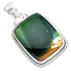 17.57cts natural green chrome chalcedony 925 sterling silver pendant p40697