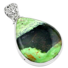 23.46cts natural green chrome chalcedony 925 sterling silver pendant p66128
