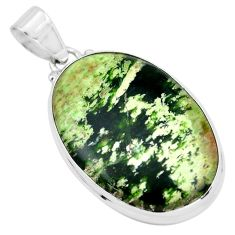 19.72cts natural green chrome chalcedony 925 sterling silver pendant p66129