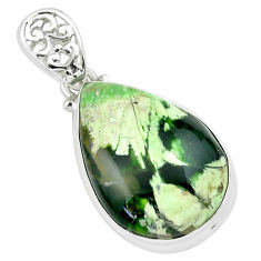 18.15cts natural green chrome chalcedony 925 sterling silver pendant p66141