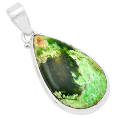 18.70cts natural green chrome chalcedony 925 sterling silver pendant p66143
