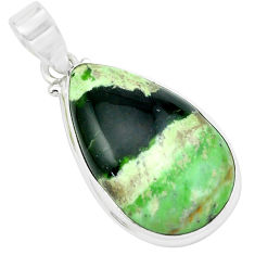 18.70cts natural green chrome chalcedony 925 sterling silver pendant p66149