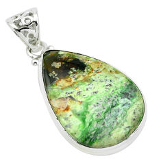 18.68cts natural green chrome chalcedony 925 sterling silver pendant p66158