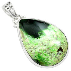 18.70cts natural green chrome chalcedony 925 sterling silver pendant p71987