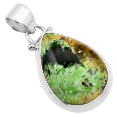 14.68cts natural green chrome chalcedony 925 sterling silver pendant p85450