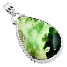 17.22cts natural green chrome chalcedony 925 sterling silver pendant p85456