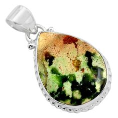 13.70cts natural green chrome chalcedony 925 sterling silver pendant p85457