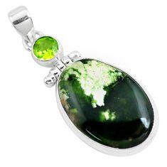 16.73cts natural green chrome chalcedony peridot 925 silver pendant p40691