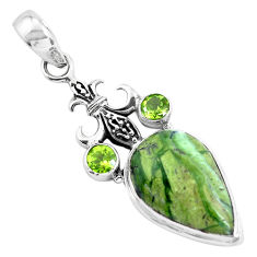 15.16cts natural green chrome chalcedony peridot 925 silver pendant p55286