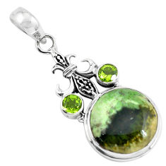 14.72cts natural green chrome chalcedony peridot 925 silver pendant p55288