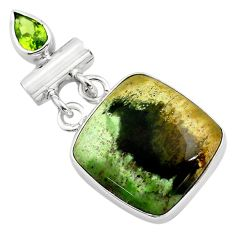16.20cts natural green chrome chalcedony peridot 925 silver pendant p85464