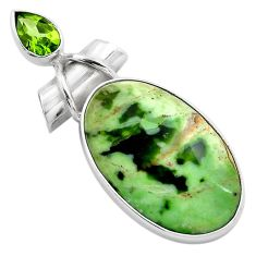 17.22cts natural green chrome chalcedony peridot 925 silver pendant p85465