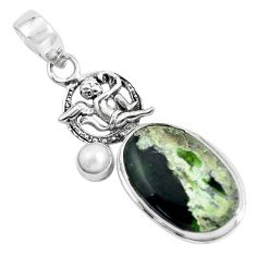 15.16cts natural green chrome chalcedony silver cupid angel wings pendant p55294
