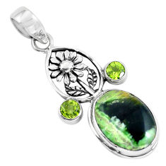 14.72cts natural green chrome chalcedony silver flower pendant p55296