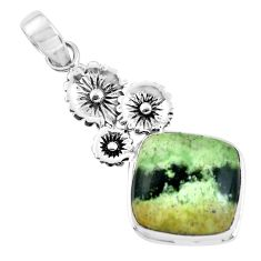 14.39cts natural green chrome chalcedony silver flower pendant p55299